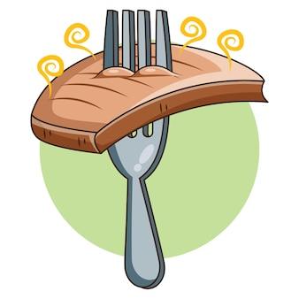 Bistecca di manzo affumicata sul disegno di vettore della forcella