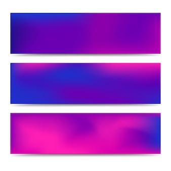 Set di banner viola sfumato sfumato astratto liscio. fondo multicolore creativo astratto. illustrazione vettoriale