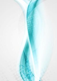 Sfondo di onde luminose turchese liscio. disegno vettoriale