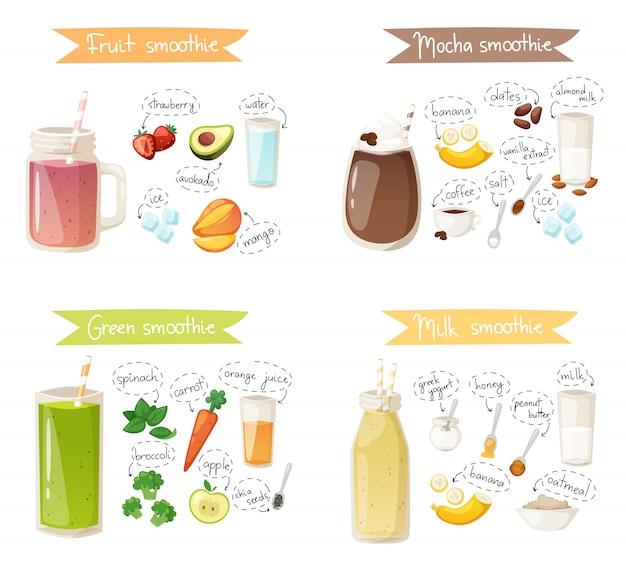 Set di ricette di bevande per frullati.