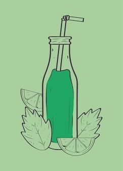 Bottiglia di frullato verde con foglie