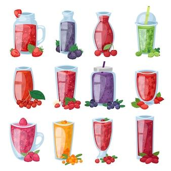 Bevanda sana della bacca del frullato in vetro o miscela fresca della bevanda dell'insieme dell'illustrazione del mirtillo e del lampone della fragola di succo berrylike