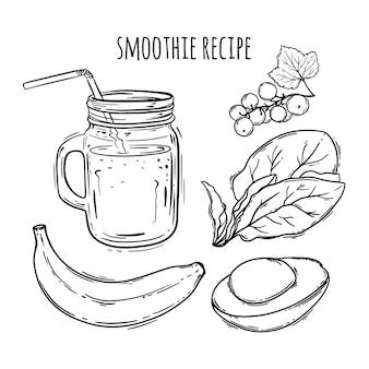 Ricetta di smoothie insieme sano dell'illustrazione della bevanda di cibo
