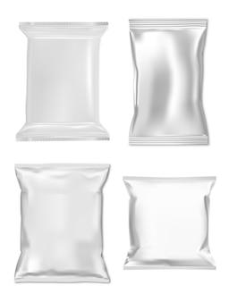 Modello di borsa snack. bustina di alluminio, campione di busta con cerniera. involucro cosmetico per cuscino, pacchetto vettoriale 3d, modello in lamina d'argento. sacchetto di prodotti del supermercato, caramelle, sale, carta, condimento