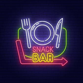 Insegna al neon dello snack bar