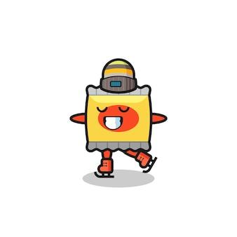 Snack cartone animato come un giocatore di pattinaggio sul ghiaccio con trofeo vincitore, design in stile carino per t-shirt, adesivo, elemento logo