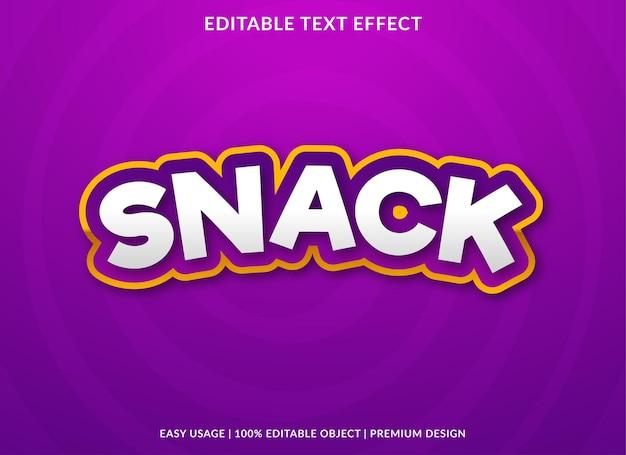 Modello di effetto testo modificabile snack stile premium