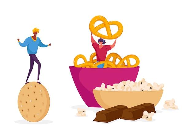 Snack, fast food con alto livello di concetto di carboidrati.