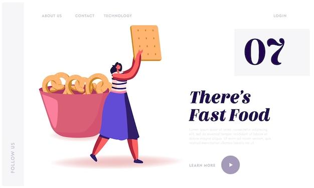 Snack, fast food con alto livello di pagina di destinazione del sito web di carboidrati.
