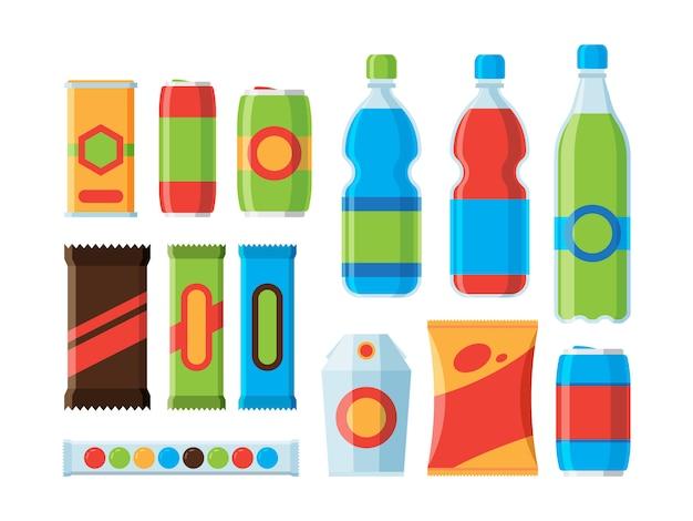 Merendina. biscotti cracker bevande gassate illustrazioni piatte di succo di barrette di cioccolato