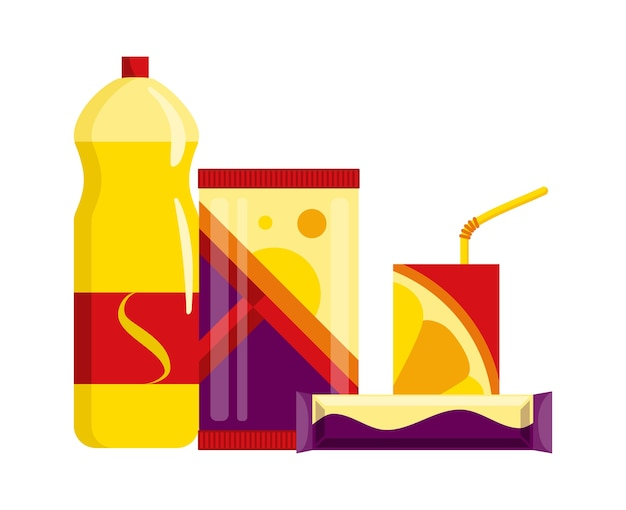 Set di prodotti per snack. fast food snack bevande, succhi di frutta e barrette dolci isolati su priorità bassa bianca.