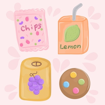 Snacking prodotti impostati patatine, succhi di frutta, biscotti. fast food, snack e bevande.