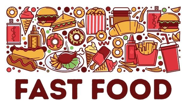 Spuntini e bevande, fast food su commensali e caffè. croissant al caffè, hot dog e patatine