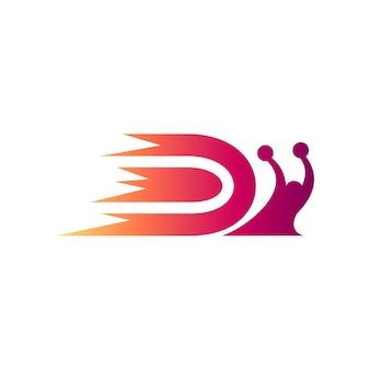 Logo iniziale della lettera d della lumaca