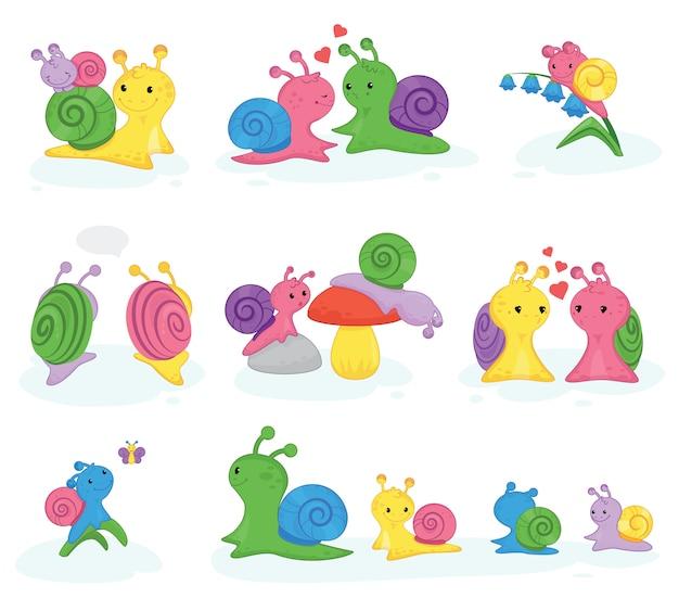 Carattere a forma di lumaca a forma di lumaca vettoriale con guscio e cartoon lumaca o mollusco simile a una lumaca bambini illustrazione set di bella coppia di lumache a forma di lumaca isolate