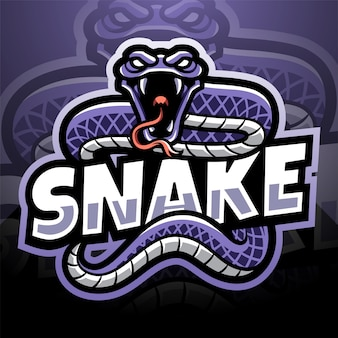 Design del logo della mascotte di snake esport
