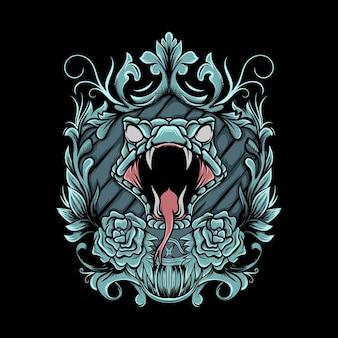 Testa di serpente con cornice ornamentale illustrazione e bandana su sfondo nero