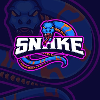 Design del logo del gioco esport della mascotte del serpente