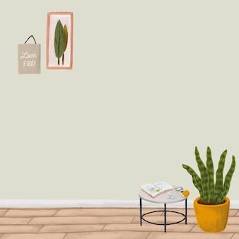 Disegno interno carino di vettore di sfondo verde della pianta del serpente