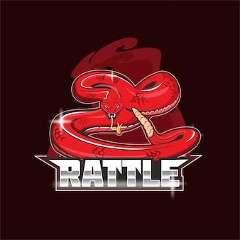 Logo mascotte della squadra di e-sport a sonagli serpente