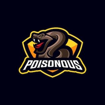 Modello di logo della mascotte della squadra sportiva di veleno di serpente