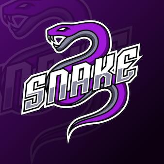 Modello di logo di gioco della mascotte della vipera di serpente