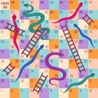Serpenti e scale. gioco da tavolo con i dadi per bambini. mappa puzzle rampicante per attività di gioco dei bambini. modello di vettore del fumetto di viaggio divertente gioco da tavolo. illustrazione gioco per bambini, gioco da tavolo per il tempo libero