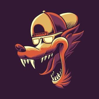 Scatta indietro illustrazione della testa del lupo