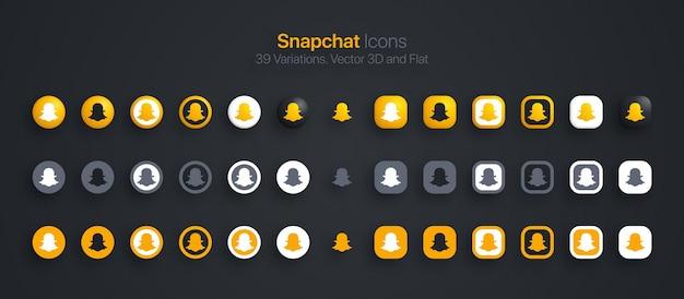 Set di icone snapchat 3d moderno e piatto in diverse varianti