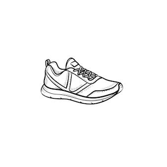 Sneaker, scarpa da corsa icona di doodle di contorni disegnati a mano. sport, stile, moda, calzature, fitness, concetto di palestra