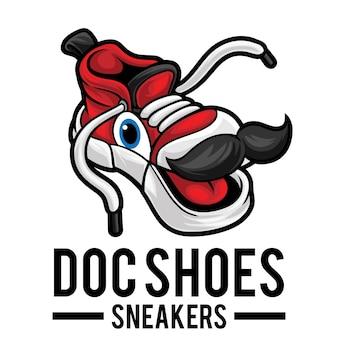 Modello mascotte logo negozio di scarpe da ginnastica