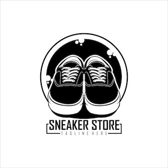 Modello con logo del negozio di sneaker