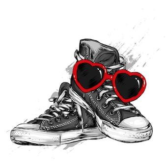 Sneakers e occhiali a forma di cuore. scarpe e accessori. san valentino, amore e romanticismo. illustrazione vettoriale.