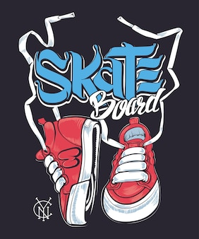 Scarpe da ginnastica e scritte da skateboard