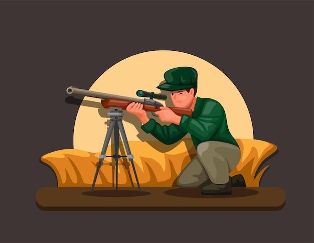 Sniper che si nasconde in cespugli che sparano all'illustrazione del carattere dell'obiettivo