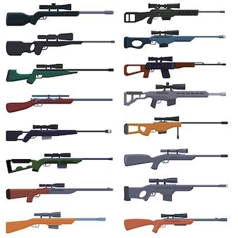 Set di icone di arma da cecchino. insieme del fumetto delle icone di arma da cecchino per il web
