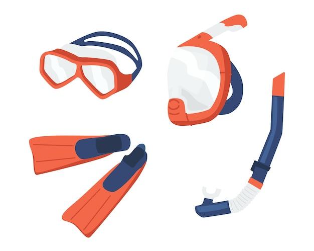 Maschere snorkeling e pinne isolati su sfondo bianco. occhiali, boccaglio e pinne per attrezzatura subacquea