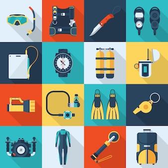 Icone di snorkeling e immersioni. icone quadrate di vettore dell'attrezzatura dello scuba.