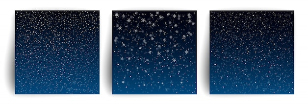 Sfondo di neve. set di modello di biglietto di auguri di natale per flyer, banner, invito, congratulazioni. sfondo di natale con i fiocchi di neve. Vettore Premium