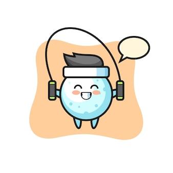 Cartone animato personaggio palla di neve con corda per saltare, design in stile carino per t-shirt, adesivo, elemento logo