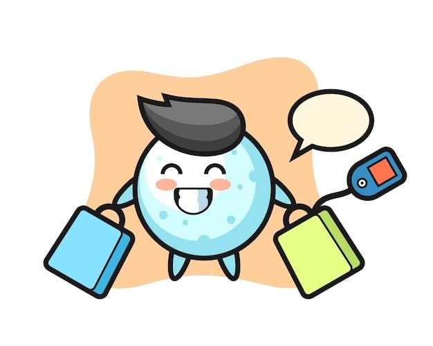 Cartone animato mascotte palla di neve che tiene una borsa della spesa, design in stile carino per maglietta, adesivo, elemento logo