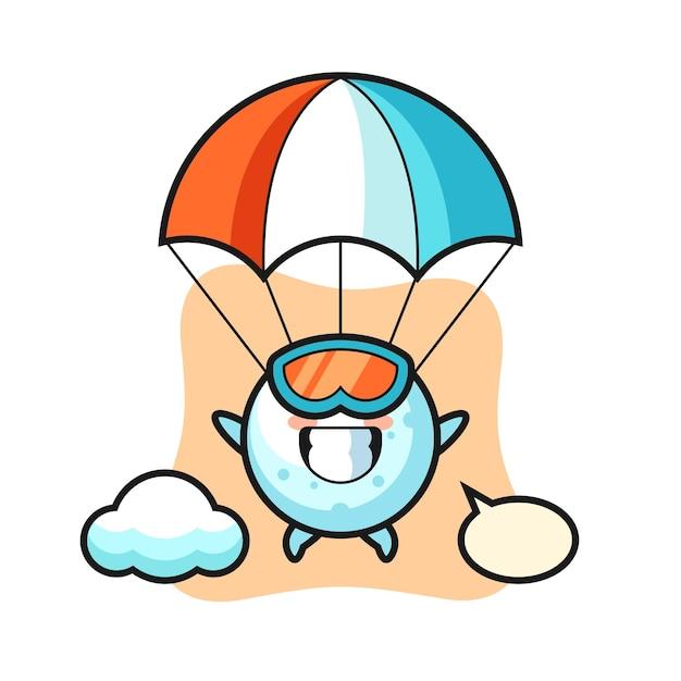 Il cartone animato della mascotte della palla di neve sta facendo paracadutismo con un gesto felice, un design in stile carino per maglietta, adesivo, elemento logo