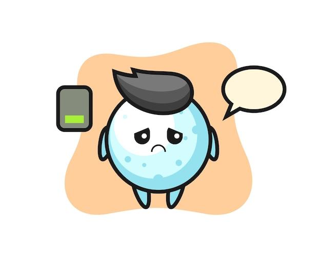 Personaggio mascotte palla di neve che fa un gesto stanco, design in stile carino per maglietta, adesivo, elemento logo