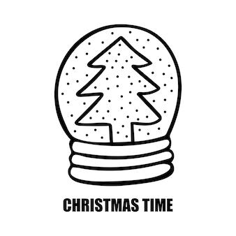 Palla di neve con albero di natale doodle vector