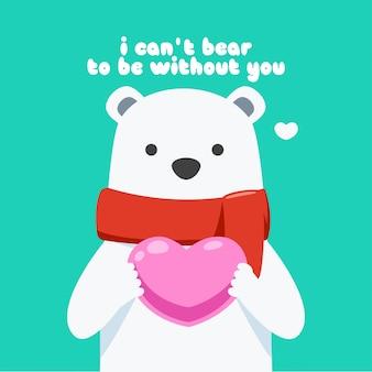 Un orso della neve sta tenendo un cuore rosa