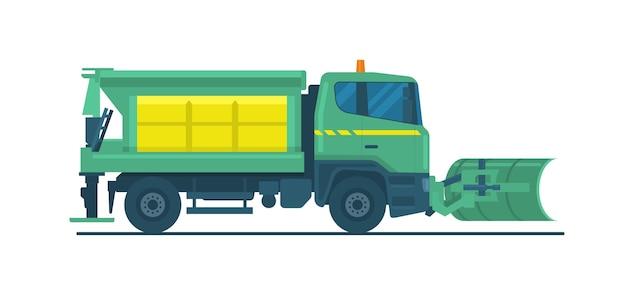 Camion dello spazzaneve isolato. illustrazione vettoriale.