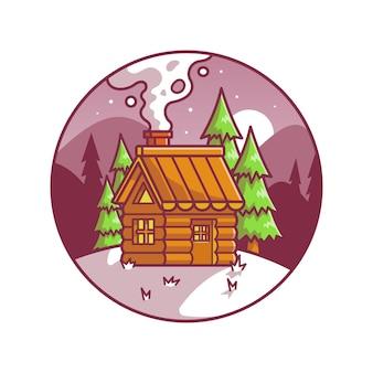 Cabina della neve nell'illustrazione dell'icona di vettore del fumetto di inverno. concetto di icona di vacanza edificio isolato vettore premium. stile cartone animato piatto