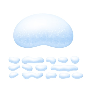 Cappucci da neve impostati isolati su sfondo bianco