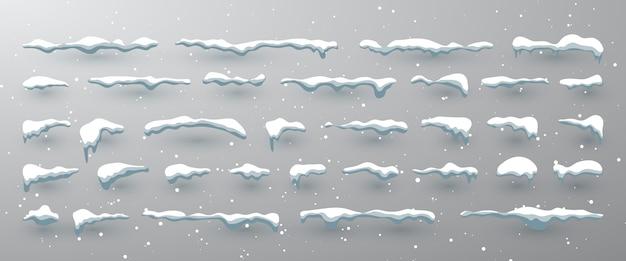 Set di cappucci da neve, palle di neve e cumuli di neve.