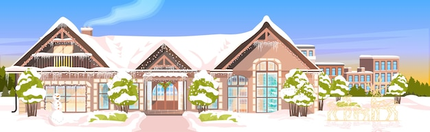 Cortile coperto di neve nella stagione invernale costruzione domestica con decorazioni per il nuovo anno e l'illustrazione di celebrazione di natale